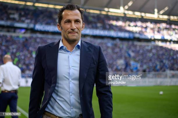 Sports director Hasan Salihamidzic of Munich smiles prior the Bundesliga match between FC Schalke 04 and FC Bayern Muenchen at Veltins-Arena on...