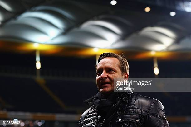 Sports director Horst Heldt of Schalke looks on prior to the Bundesliga match between Eintracht Frankfurt and FC Schalke 04 at CommerzbankArena on...