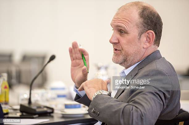 Sports Director Joerg Schmadtke of 1 FC Koeln during the DFB referee's round table at DFB Headquarter on June 29 2016 in Frankfurt am Main Germany
