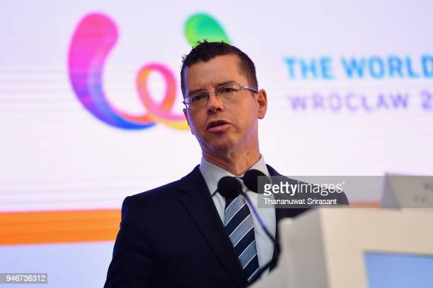 Sports Director Kit McConnell addresses during the IWGA General Annual Meeting on day two of the SportAccord at Centara Grand Bangkok Convention...
