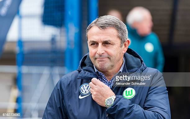 Sports Director Klaus Allofs of VfL Wolfsburg is seen prior the Bundesliga match between SV Darmstadt 98 and VfL Wolfsburg at Stadion am...