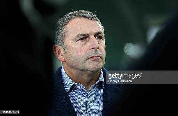 Sports director Klaus Allofs of Wolfsburg is pictured prior to the Bundesliga match between VfL Wolfsburg and 1899 Hoffenheim at Volkswagen Arena on...