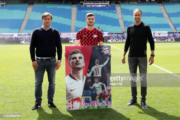 Sports director Markus Kroesche and Managing director Oliver Mintzlaff wish farewell to Timo Werner of RB Leipzig ahead the Bundesliga match between...
