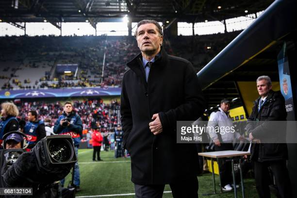 Sports director Michael Zorc of Dortmund is seen prior the UEFA Champions League Quarter Final first leg match between Borussia Dortmund and AS...
