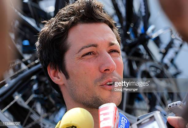 Sports Director Nicolas Portal of SKY Procycling speaks to the media at the start of stage fourteen of the 2013 Tour de France a 191KM road stage...