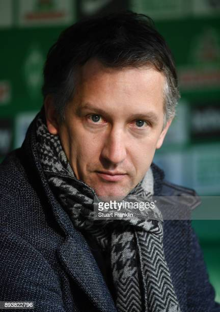 sports director of Bremen looks on during the Bundesliga match between SV Werder Bremen and 1 FSV Mainz 05 at Weserstadion on December 16 2017 in...