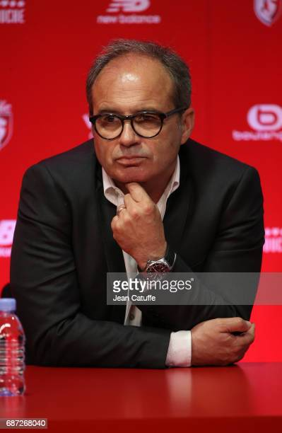 Sports Director of Lille OSC Luis Campos attends a press conference introducing Marcelo Bielsa of Argentina as the new head coach of Lille OSC at...