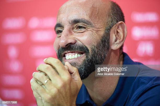 Sports director of Sevilla FC Ramon Rodriguez 'Monchi' attends the press conference during his official presentation at the Estadio Ramon Sanchez...