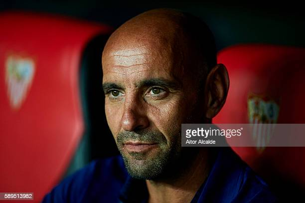 sports director of Sevilla FC Ramon Rodriguez 'Monchi' looks on prior to the match between Sevilla FC vs FC Barcelona as part of the Spanish Super...