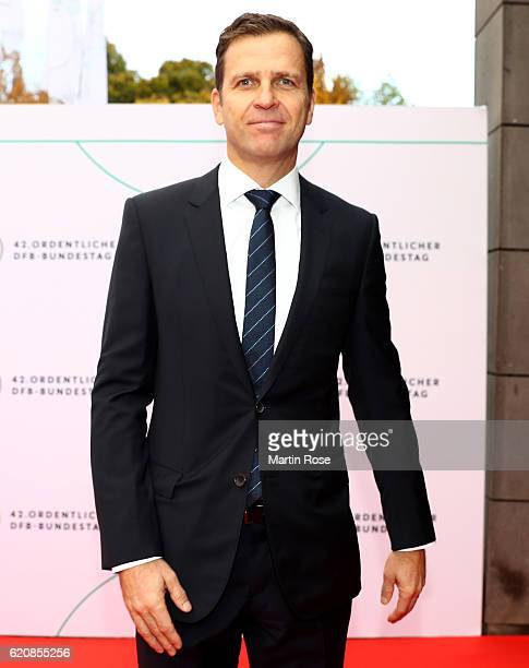 Sports director of the German National Team Oliver Bierhoff poses for a picture prior to the ceremonial act of the 42nd DFB Bundestag at Theater...