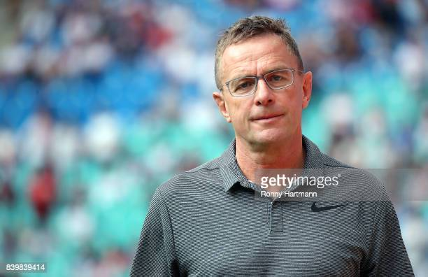 Sports director Ralf Rangnick of RB Leipzig looks on prior to the Bundesliga match between RB Leipzig and SportClub Freiburg at Red Bull Arena on...