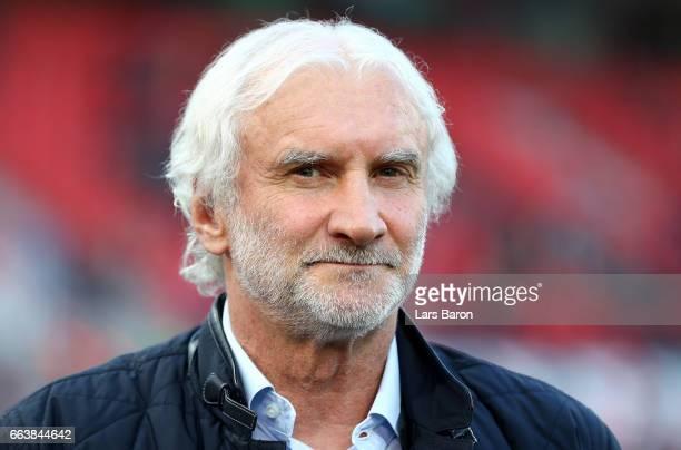 Sports director Rudi Voeller of Leverkusen is seen during the Bundesliga match between Bayer 04 Leverkusen and VfL Wolfsburg at BayArena on April 2...