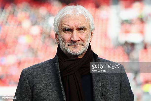 Sports director Rudi Voeller of Leverkusen looks on prior to the Bundesliga match between Bayer 04 Leverkusen and Hamburger SV at BayArena on March...