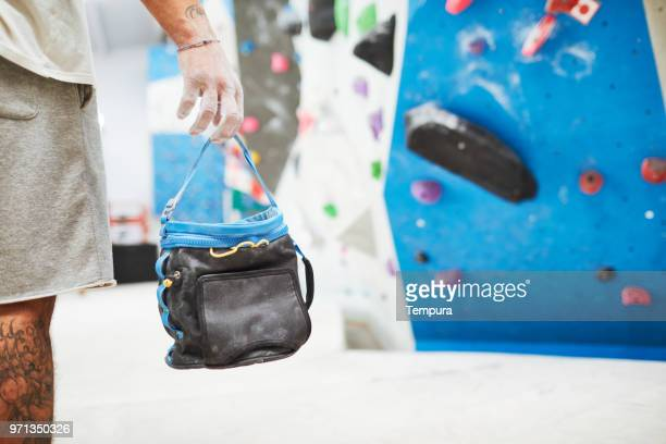 sports equipment close up, bouldering and climbing. - chalk bag stock pictures, royalty-free photos & images