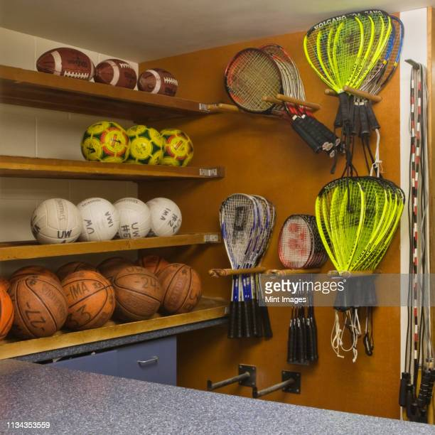 sports equipment display - sports equipment stock pictures, royalty-free photos & images