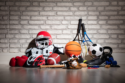 Sports Equipment On Floor 1136317339