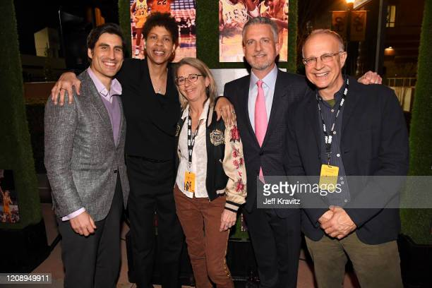 """Sports Executive Vice President Peter Nelson, Cheryl Miller, Alison Ellwood, Bill Simmons, and Gary Cohen attend the Los Angeles premiere of """"Women..."""