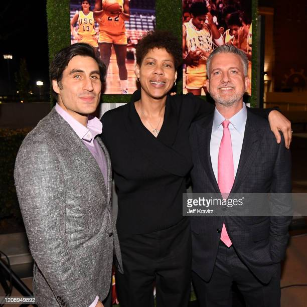 """Sports Executive Vice President Peter Nelson, Cheryl Miller, and Bill Simmons attend the Los Angeles premiere of """"Women of Troy"""" from HBO at Ray..."""