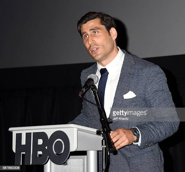 Sports Executive VP Peter Nelson speaks onstage during a QA following the LA premiere of HBO's Hard Knocks Training Camp With The Los Angeles Rams at...
