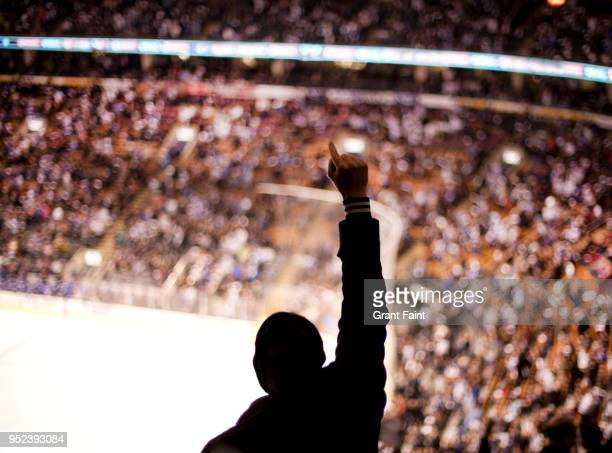 sports fan cheering at hockey game - loyalty stock pictures, royalty-free photos & images