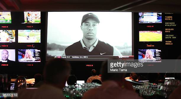 Sports fans watch the controversial new Tiger Woods Nike advertisement featuring the voice of his late father Earl during Masters coverage televised...