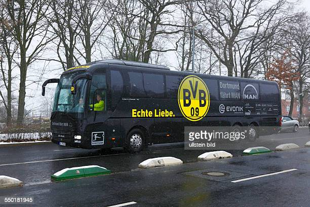 sports football Bundesliga 2012/2013 Borussia Moenchengladbach versus Borussia Dortmund 11 Stadium Borussia Park in Moenchengladbach team bus of...