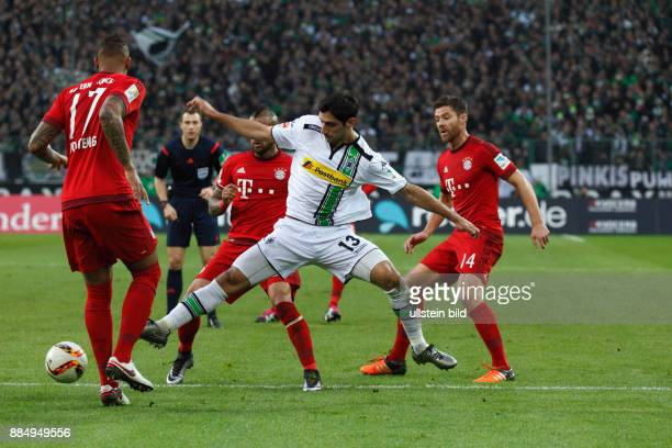 sports football Bundesliga 2015/2016 Borussia Moenchengladbach versus FC Bayern Muenchen 31 Stadium Borussia Park scene of the game fltr Jerome...