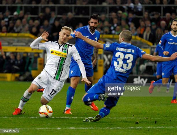 sports football Bundesliga 2015/2016 Borussia Moenchengladbach versus SV Darmstadt 98 32 Stadium Borussia Park scene of the match fltr Oscar Wendt...