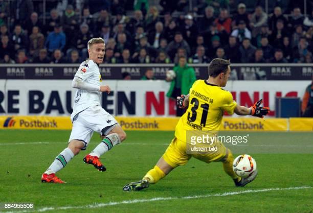 sports football Bundesliga 2015/2016 Borussia Moenchengladbach versus SV Darmstadt 98 32 Stadium Borussia Park scene of the match Oscar Wendt scoring...