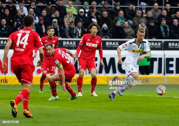 sports football Bundesliga 2015/2016 Borussia Moenchengladbach versus 1 FC Koeln 10 Stadium Borussia Park scene of the match fltr Jonas Hector...