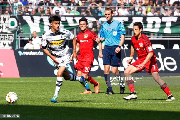 sports football Bundesliga 2015/2016 Borussia Moenchengladbach versus Bayer 04 Leverkusen 21 Stadium Borussia Park scene of the match fltr Mahmoud...