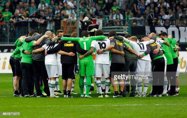 sports football Bundesliga 2015/2016 Borussia Moenchengladbach versus Hertha BSC Berlin 50 Stadium Borussia Park Gladbach players coaches and helpers...