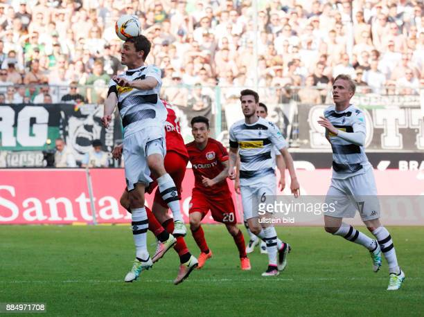 sports football Bundesliga 2015/2016 Borussia Moenchengladbach versus Bayer 04 Leverkusen 21 Stadium Borussia Park scene of the match fltr Andreas...