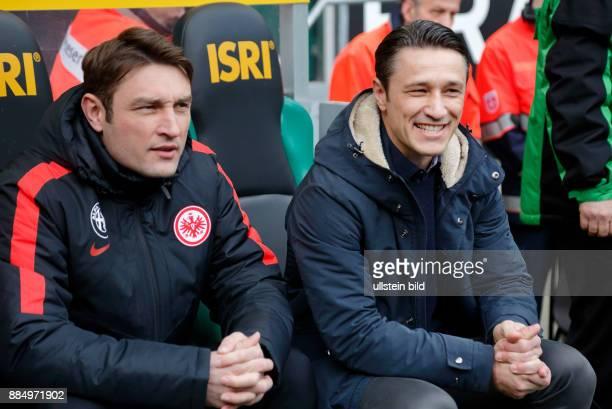 sports football Bundesliga 2015/2016 Borussia Moenchengladbach versus Eintracht Frankfurt 30 Stadium Borussia Park coach Niko Kovac right and...
