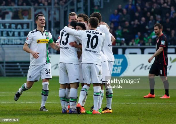 sports football Bundesliga 2015/2016 Borussia Moenchengladbach versus Eintracht Frankfurt 30 Stadium Borussia Park rejoicing at the 20 goal by goal...