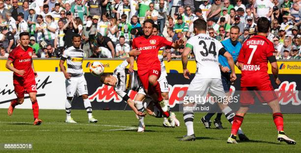 sports football Bundesliga 2015/2016 Borussia Moenchengladbach versus Bayer 04 Leverkusen 21 Stadium Borussia Park scene of the match fltr Charles...