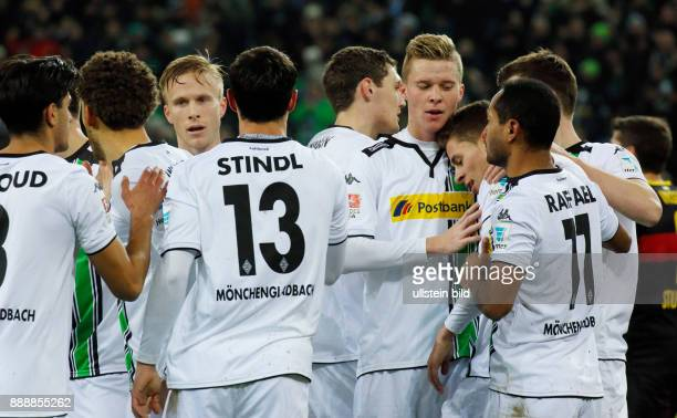sports football Bundesliga 2015/2016 Borussia Moenchengladbach versus VFB Stuttgart 40 Stadium Borussia Park rejoicing at the 10 of Gladbach fltr...