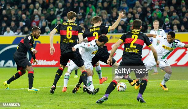 sports football Bundesliga 2015/2016 Borussia Moenchengladbach versus VFB Stuttgart 40 Stadium Borussia Park scene of the match fltr Serey Die Georg...