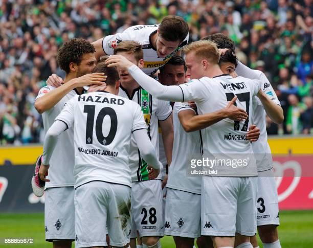 sports football Bundesliga 2015/2016 Borussia Moenchengladbach versus Hertha BSC Berlin 50 Stadium Borussia Park rejoicing at the 10 goal fltr Fabian...