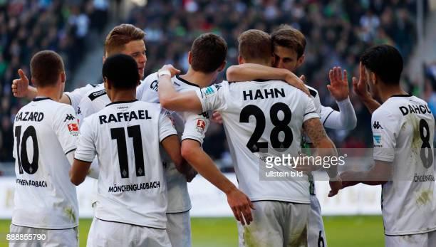sports football Bundesliga 2015/2016 Borussia Moenchengladbach versus TSG 1899 Hoffenheim 31 Stadium Borussia Park rejoicing at the 31 fltr Thorgan...