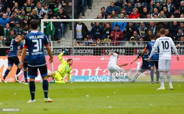 sports football Bundesliga 2015/2016 Borussia Moenchengladbach versus TSG 1899 Hoffenheim 31 Stadium Borussia Park scene of the match 10 goal fltr...