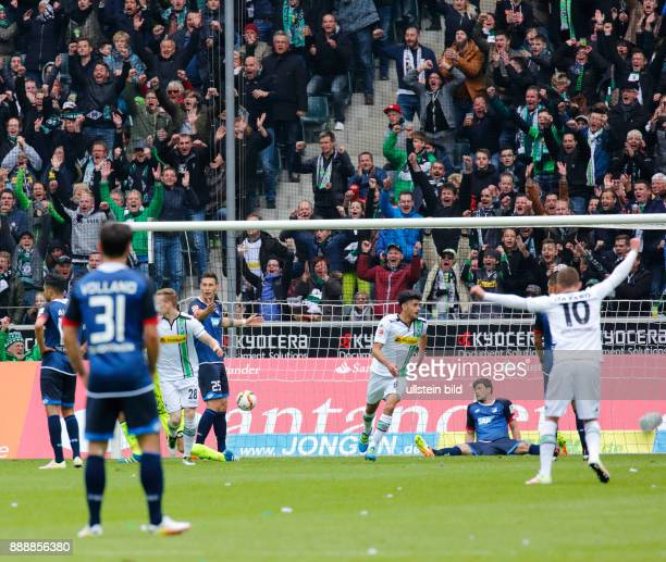 sports football Bundesliga 2015/2016 Borussia Moenchengladbach versus TSG 1899 Hoffenheim 31 Stadium Borussia Park rejoicing at the 10 goal fltr...