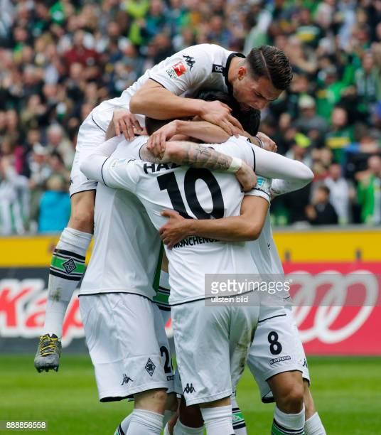 sports football Bundesliga 2015/2016 Borussia Moenchengladbach versus Hertha BSC Berlin 50 Stadium Borussia Park rejoicing at the 10 goal fltr Andre...