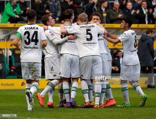 sports football Bundesliga 2015/2016 Borussia Moenchengladbach versus Eintracht Frankfurt 30 Stadium Borussia Park rejoicing at the 10 goal by goal...