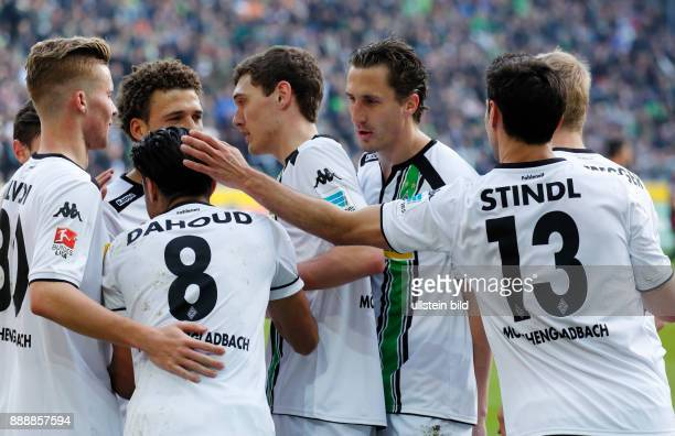 sports football Bundesliga 2015/2016 Borussia Moenchengladbach versus Eintracht Frankfurt 30 Stadium Borussia Park rejoicing at the 30 goal by...