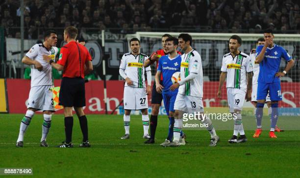 sports football Bundesliga 2015/2016 Borussia Moenchengladbach versus SV Darmstadt 98 32 Stadium Borussia Park PHOTO SPREAD Red Card by referee Brand...