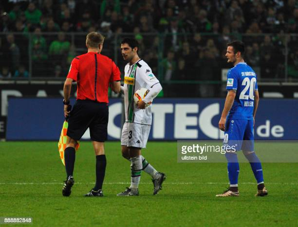 sports football Bundesliga 2015/2016 Borussia Moenchengladbach versus SV Darmstadt 98 32 Stadium Borussia Park PHOTO SPREAD Red Card by referee...