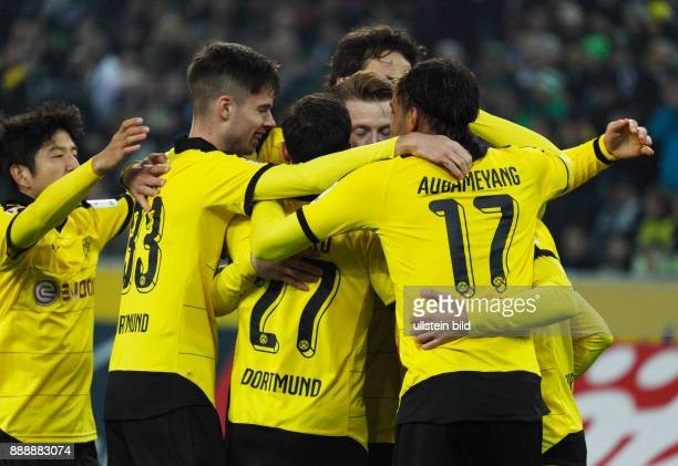 sports football Bundesliga 2015/2016 Borussia Moenchengladbach versus Borussia Dortmund 13 Stadium Borussia Park rejoicing at the 02 by Henrikh...