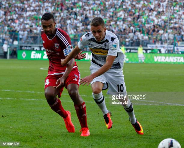 sports football Bundesliga 2016/2017 Borussia Moenchengladbach versus FC Ingolstadt 04 20 Stadium Borussia Park scene of the match team leader Marvin...