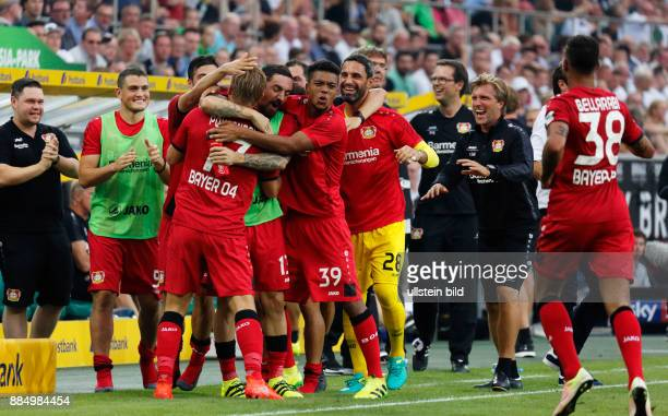 sports football Bundesliga 2016/2017 Borussia Moenchengladbach versus Bayer 04 Leverkusen 21 Stadium Borussia Park standby players and helpers of...